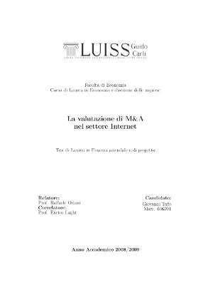 La valutazione di M&A nel settore Internet